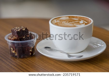 Columbian coffee and chocolate cake in a relaxed