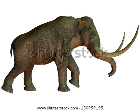 Columbian Mammoth on White - The Columbian mammoth is an extinct species of elephant that inhabited what is now the Americas in the Pleistocene Age. - stock photo