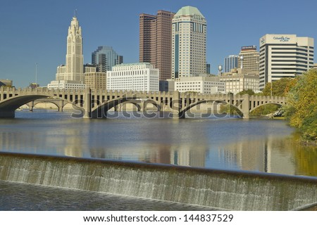 Columbus and Scioto River with waterfall  in Ohio - stock photo
