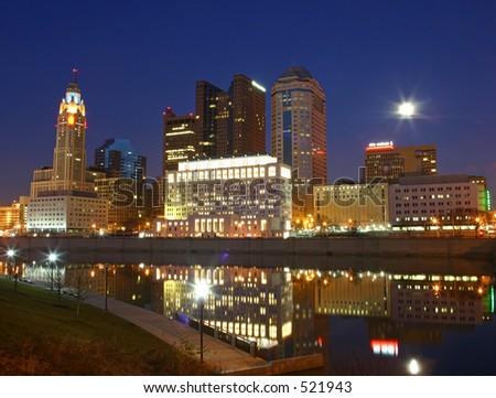 Columbus city skyline at night. - stock photo