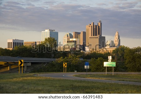 Columbus, Ohio approaching from the northeast in the morning
