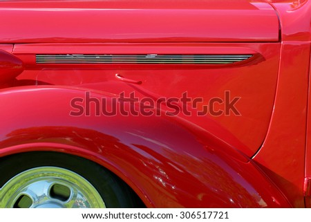 COLUMBUS, OHIO - AUGUST 1, 2015: Georgesville Community Club Car / Bike Show. A Red 1938 Plymouth sedan is parked outside. - stock photo