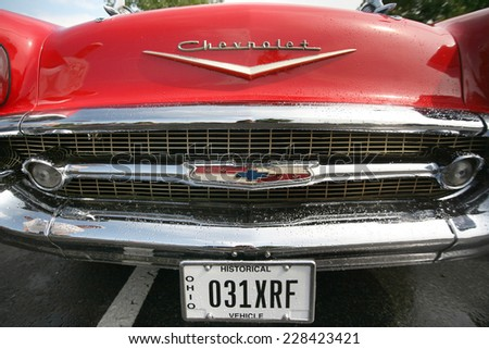 COLUMBUS, OHIO - CIRCA AUGUST 2006: Vintage red Chevrolet Bel Air grill and hood - stock photo