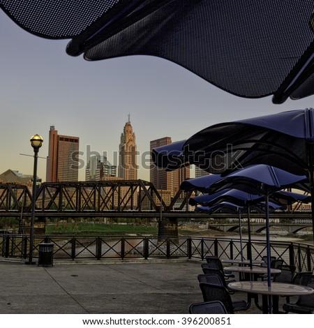Columbus, Ohio from Northbank Park - stock photo