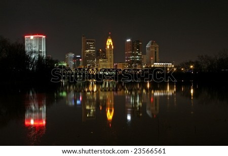 Columbus Ohio Reflecting on the River - stock photo