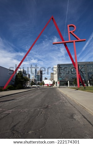 COLUMBUS, OHIO-SEPTEMBER 27, 2014:  The iconic Art sign welcomes people the the Columbus College of Art and Design in Columbus, Ohio. - stock photo