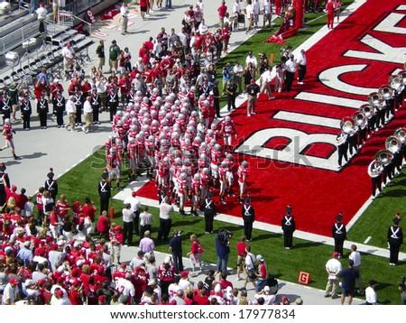 COLUMBUS, OHIO-SEPTEMBER 6: The Ohio State Buckeyes get ready to take the field - stock photo