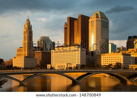 Columbus Ohio Skyline at Sunset with New Rich Street Bridge - stock photo