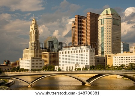 Columbus Ohio skyline in late afternoon - stock photo