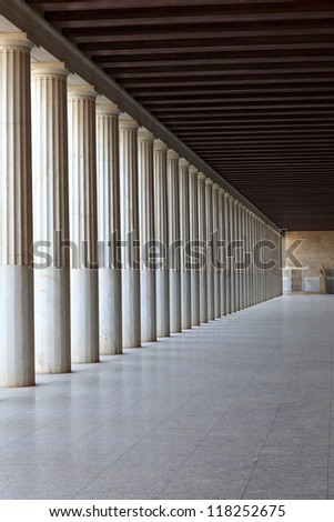 Column arcade of ancient Agora, Athens, Greece