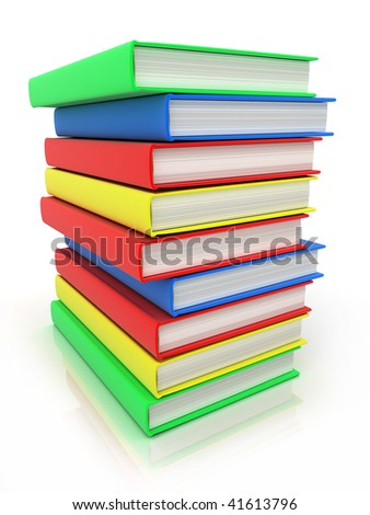 Column books in different colour (done in 3d)