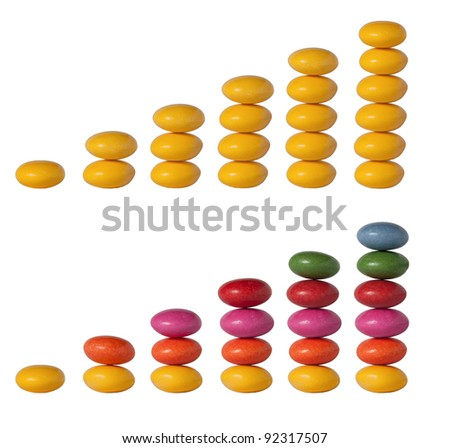 Column graph of colored lentils on a white background - stock photo