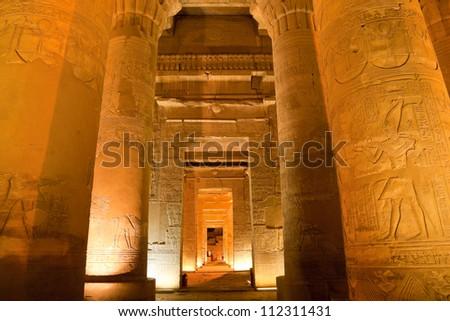 column in sobek temple, kom ombo, egypt - stock photo