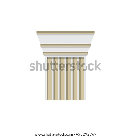 Column logo design template. Raster illustration column capitals classical Greek or Roman style architecture bureau logotype. Logo icon.