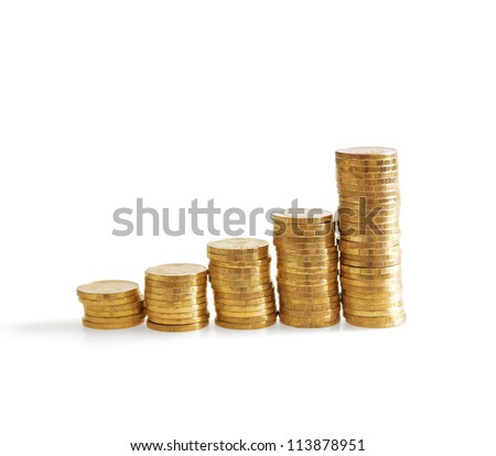 Column of golden coins on a white background - stock photo