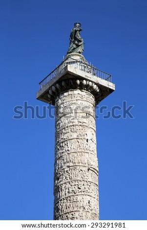 Column of Marcus Aurelius at Square Piazza Colonna in Rome, Italy - stock photo