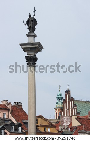 Column of The King Sigismund III Wasa, Old Town in Warsaw, Poland - stock photo