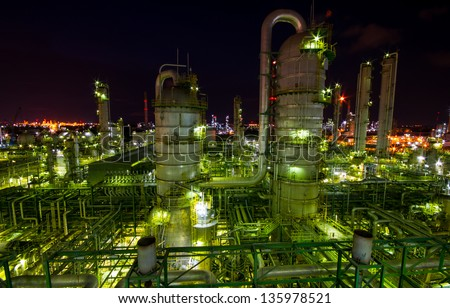 Column tower in petrochemical plant in Mataphut Thailand - stock photo