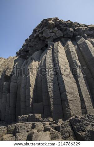 Columnar Basalt ,penghu,taiwan - stock photo