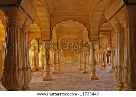 Columned hall of a Amber fort. Jaipur, India - stock photo