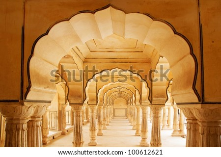 Columned hall of Amber fort. Jaipur, India. - stock photo