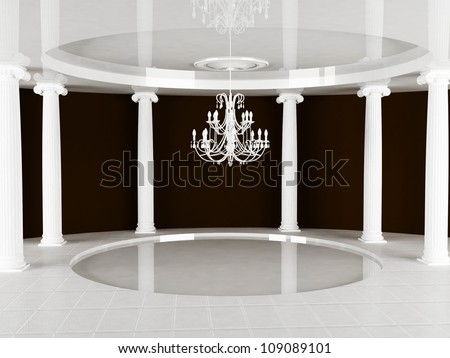 columns and a chandelier in empty room