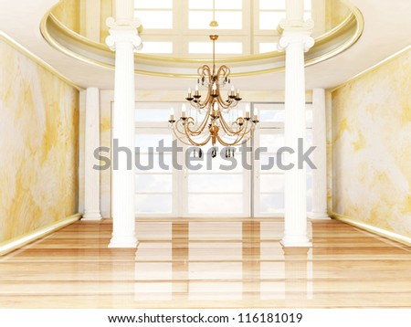 columns and a chandelier in empty room - stock photo