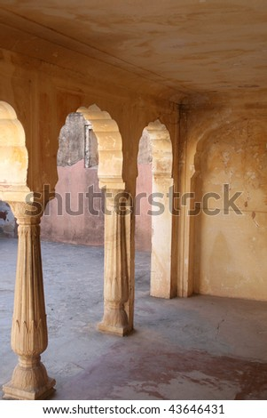 Columns and arches in Amber Fort, Rajasthan
