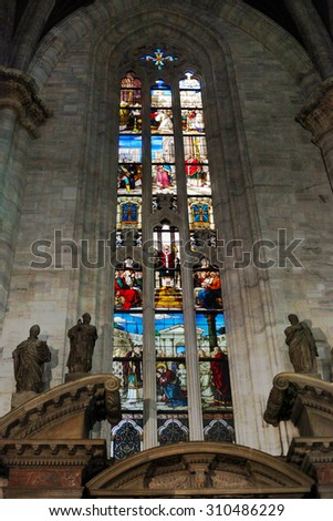 columns and arches inside the catholic church - stock photo