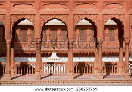 Columns and arches of an ancient palace in Bikaner, India - stock photo
