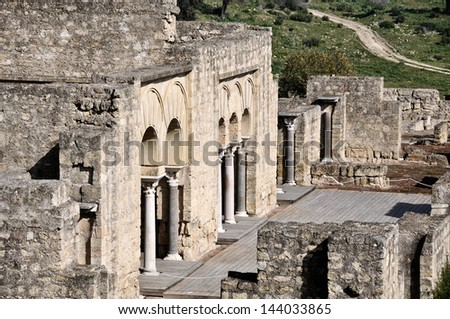 Columns and arches of Upper Basilic Building. Medina Azahara. Cordoba, Andalusia, Spain - stock photo