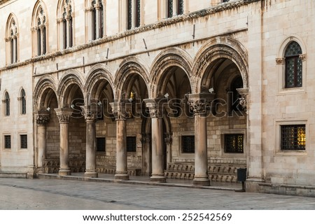 Columns and exterior of the Duke's Palace (Knezev dvor) in Dubrovnik, Croatia