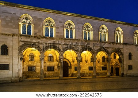 Columns and exterior of the Duke's Palace (Knezev dvor) in Dubrovnik, Croatia during blue hour - stock photo