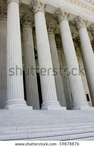 Columns and portico of US supreme court - stock photo