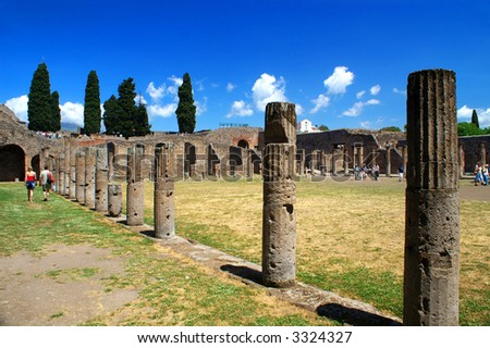 Columns and ruins of ancient town Pompeii, Italy - stock photo