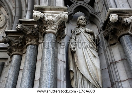 Columns and statue from a church in Ireland. - stock photo