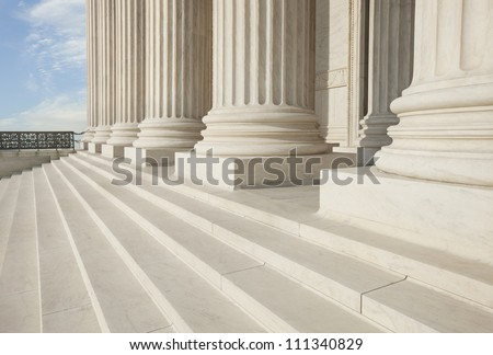 Columns and steps of the Supreme Court building in Washington DC - stock photo