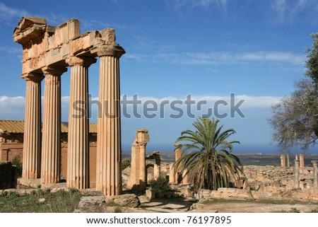 Columns at the entrance of ancient Cyrene Libya - stock photo