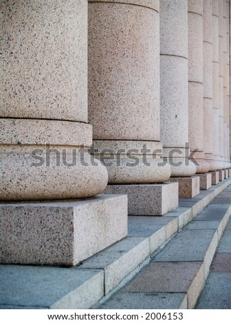 Columns at the houses of parliament in Helsinki, Finland - stock photo