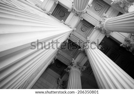 Columns at the National Archives - stock photo