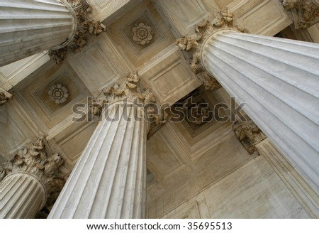 Columns at the United States Supreme Court - stock photo