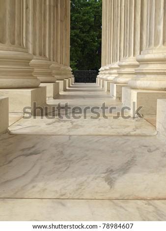 Columns at the United States Supreme Court in Washington DC - stock photo