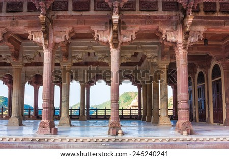 Columns in Amber Fort, Jaipur, India