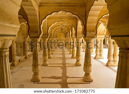 Columns in Amber Fort near Jaipur, Rajasthan, India - stock photo
