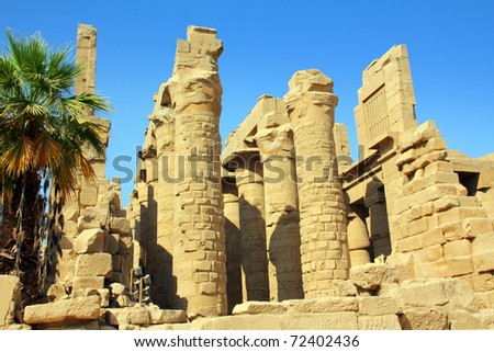 columns in famouse karnak temple - luxor - stock photo