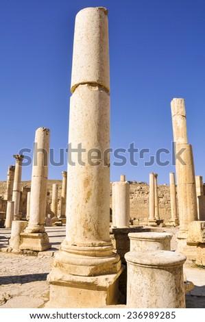 Columns in Jerash ruins, Jordan - stock photo