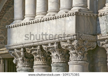 Columns in row Venice at Doge Palace - stock photo