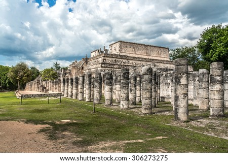 Columns in Temple of the Warriors (Templo de los Guerreros). Chichen Itza archaeological site, Yucatan, Mexico. - stock photo