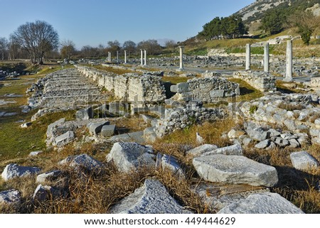 Columns in the archeological area of ancient Philippi, Eastern Macedonia and Thrace, Greece - stock photo