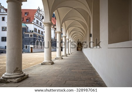 Columns in the courtyard of the Procesion Del Principe building in Dresden (castle of Dresden), Germany - stock photo